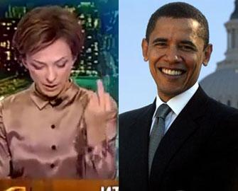 <b>Rus jurnalist canlı yayımda Obamanı təhqir etdi -<font color=red> Video</b></font>