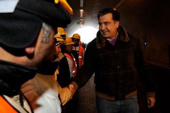 """<b>Saakaşvili """"Akkord""""un tunelində -<font color=red> Fotolar</b></font>"""