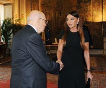 Mehriban Əliyeva İtaliya prezidenti ilə görüşüb