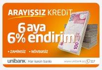 Unibank arayışsız kreditlər təklif edir