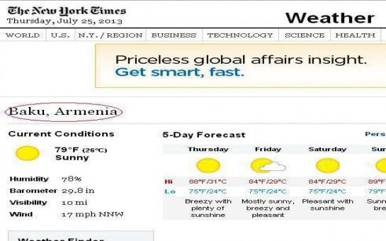 """""""The New York Times"""" Bakını Ermənistanın paytaxtı hesab etdi -"""