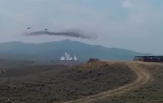 Ermənilər vurulan helikopterin görüntüsünü yaydı-