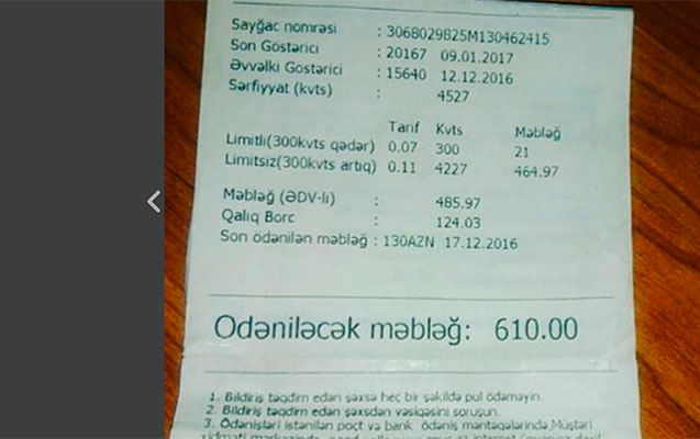 """Yeni """"İşıq pulu"""" qəbzləri ilə bağlı hansı şikayətlər var?"""