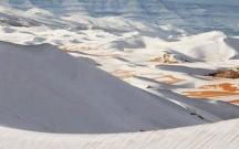 Saxara səhrasına qar yağıb