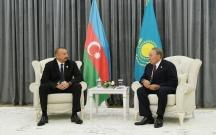 İlham Əliyev Nazarbayev və Ruhani ilə görüşdü