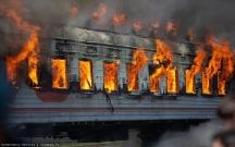 Rusiyada sərnişin qatarı yandı