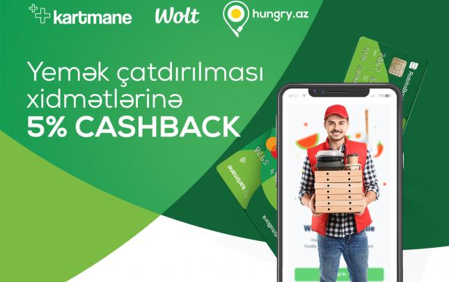 Yeməyinizi sifariş edin, Kartmane ilə ödəyin və  5% cashback qazanın!
