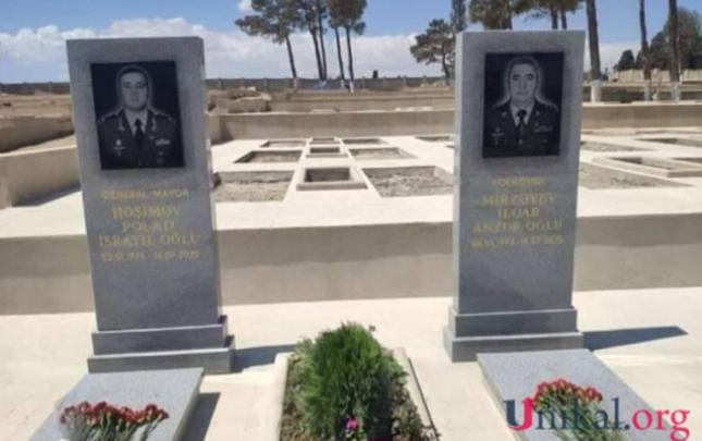 Şəhid generalla polkovnikin məzar daşı hazırdır