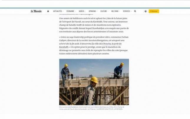 """""""Le Monde"""" Qarabağda həyata keçirilən böyük layihələrdən yazdı"""
