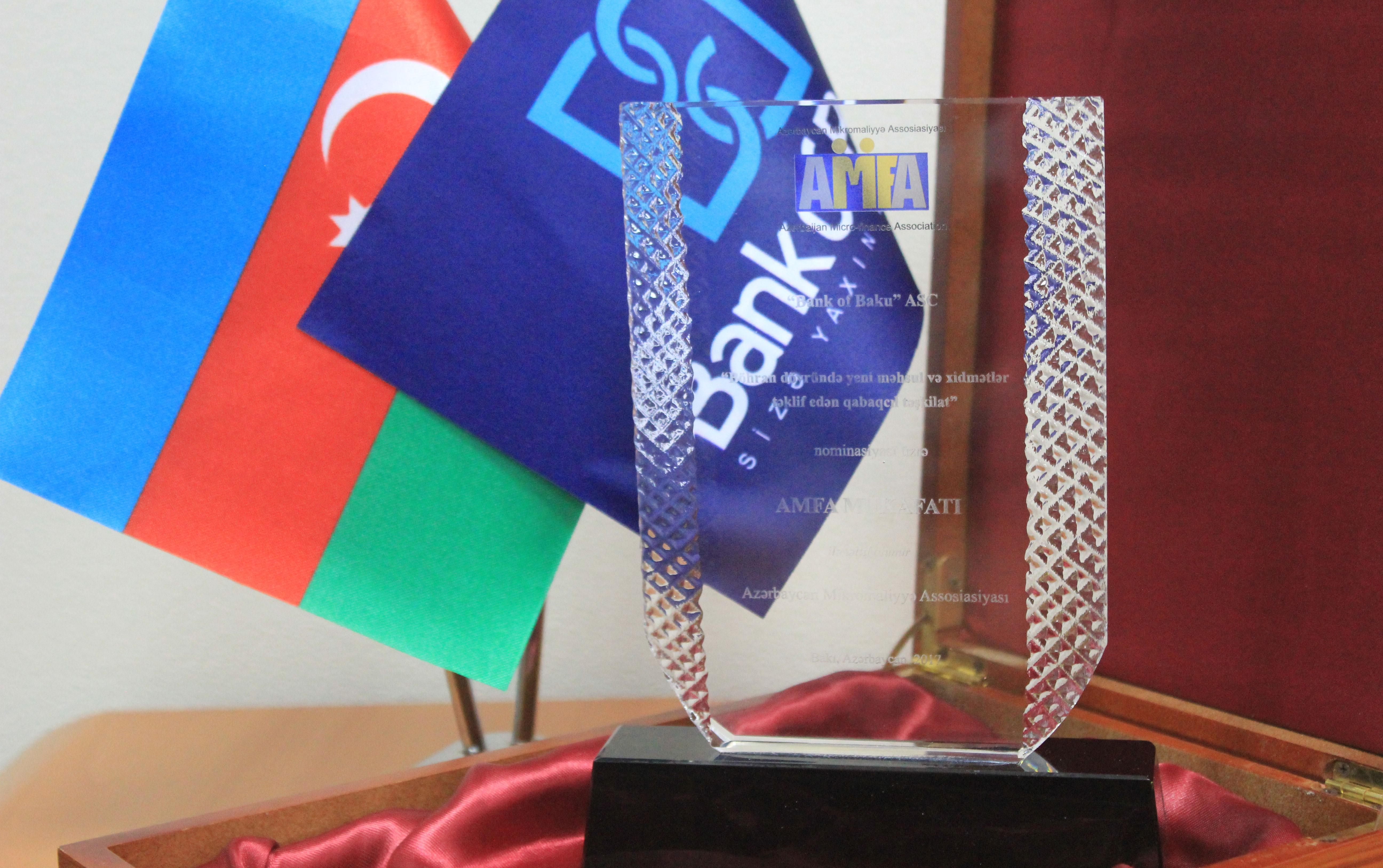 """Bank of Baku """"Ən qabaqcıl təşkilat"""" nominasiyasının qalibi olub"""