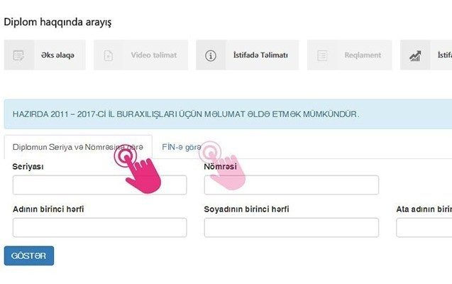"""""""Diplom haqqında arayış"""" elektron xidməti yeniləndi"""