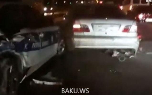 Qayda pozan sürücünü qovan polis qəzaya düşdü
