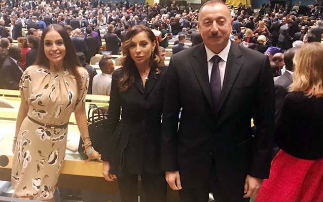 İlham Əliyev xanımı və qızı ilə BMT-də