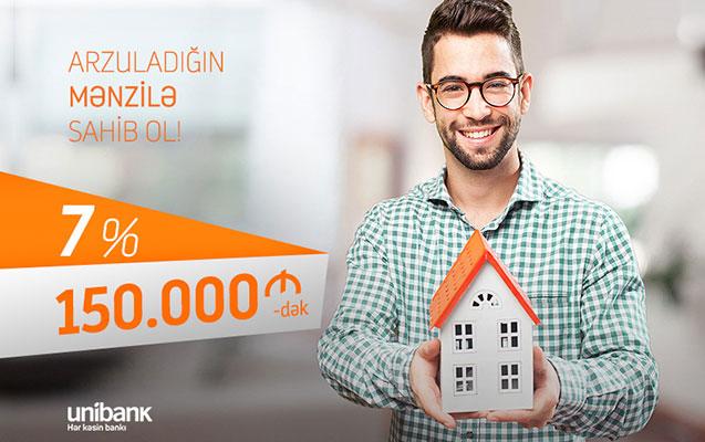 Unibankdan 150.000 manatadək ipoteka krediti aşağı faizlə
