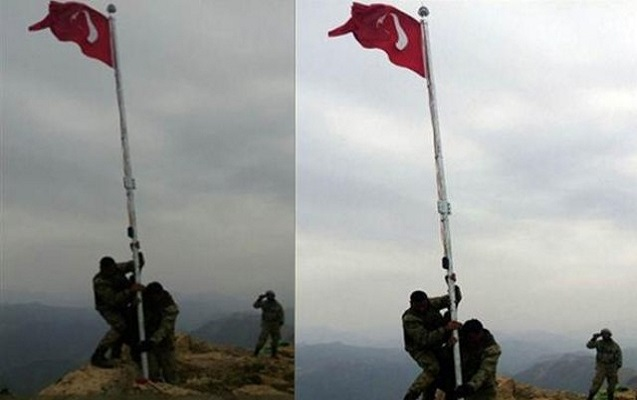 Şimali İraqa Türkiyə bayrağı asıldı