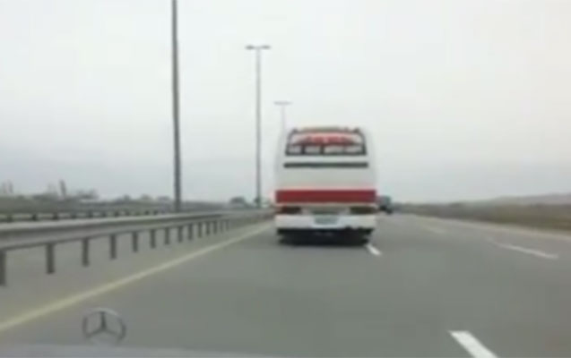 """150 sürətlə """"uçan"""" avtobus"""