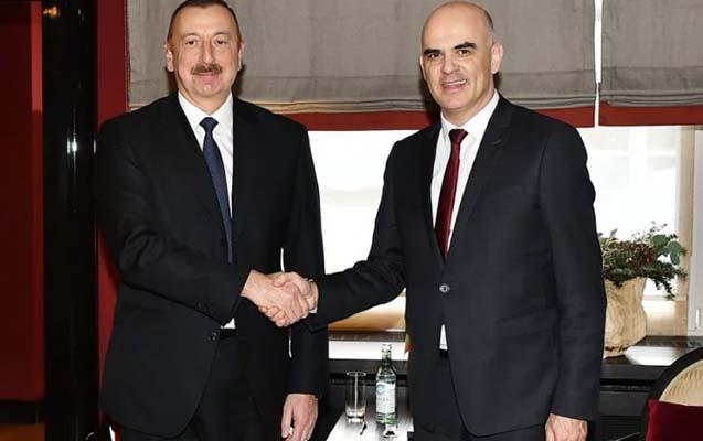 İlham Əliyev İsveçrə prezidenti ilə bir arada