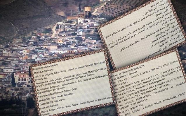Afrin əhalisinə təyyarələrdən kağızlar atıldı