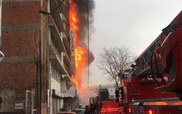 İzmirdə hotel yandı