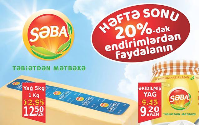 """Həftə sonları """"Səba""""dan 20%-dək endirim"""
