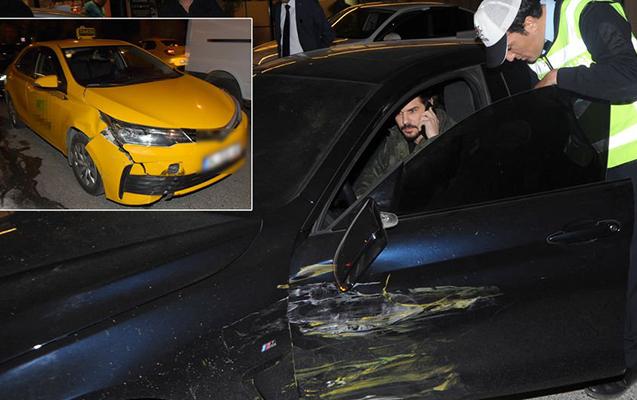 Taksi aktyorun maşınına çırpıldı