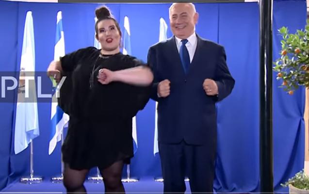 """Netanyahu """"Eurovision""""un qalibi ilə """"cücə"""" rəqsi oynadı"""