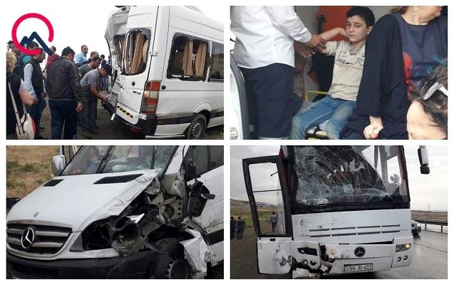 Nabrandan Bakıya gələn 3 avtobus qəzaya uğradı