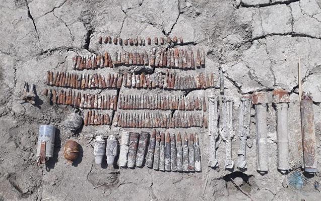 Biləsuvarda daha 49 ədəd partlamamış sursat tapıldı