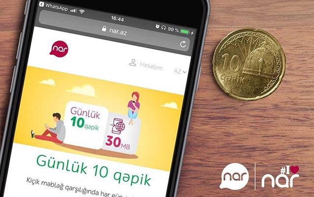 """""""Nar""""dan 10 qəpiyə günlük internet paketi təklifi"""