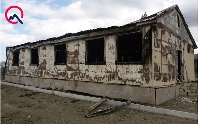 Qubada tikintisi başa çatmamış məktəb yandı