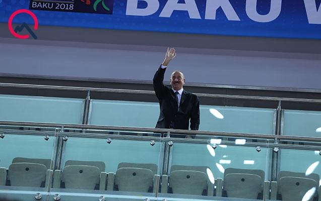 İlham Əliyev yarımfinal yarışını izlədi