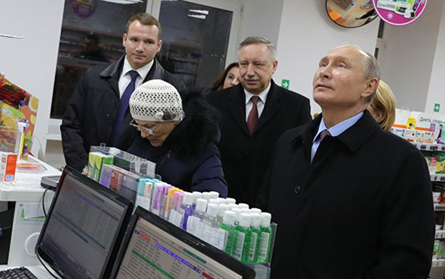 İclasdan qayıdan Putin yolüstü aptekə girdi