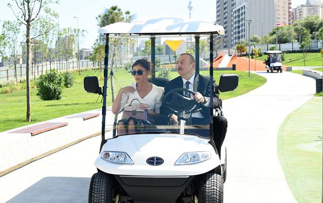Prezidentlə xanımı Mərkəzi Parkın açılışını etdi