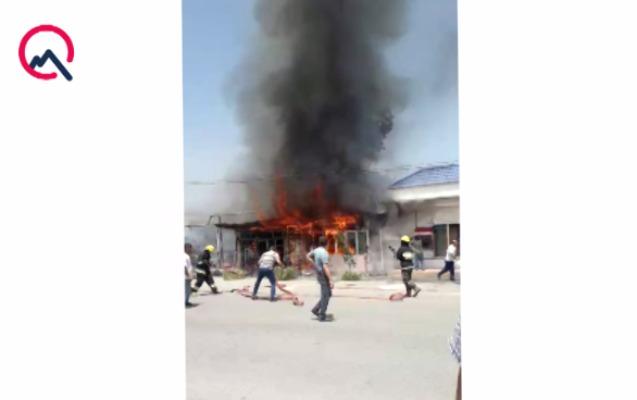 Ağdaşda restoran yandı
