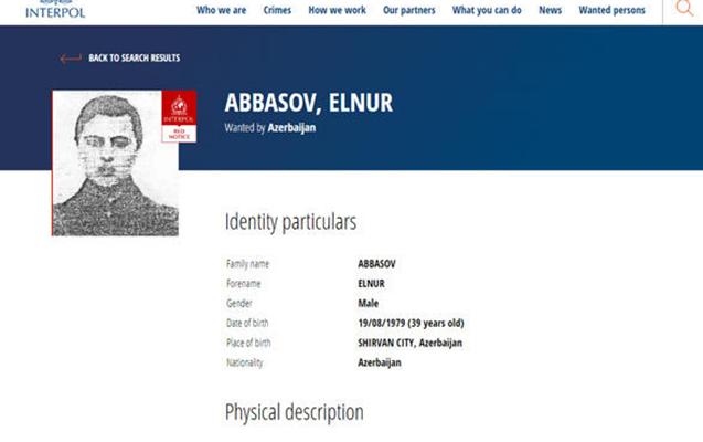 İnterpol Elnur Abbasovu axtarışa verib