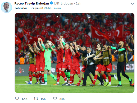 Ərdoğan futbol üzrə Türkiyə millisini təbrik etdi - Foto
