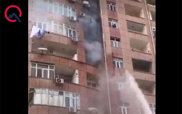 Yasamalda yanan binadan 83 nəfər təxliyyə olunub