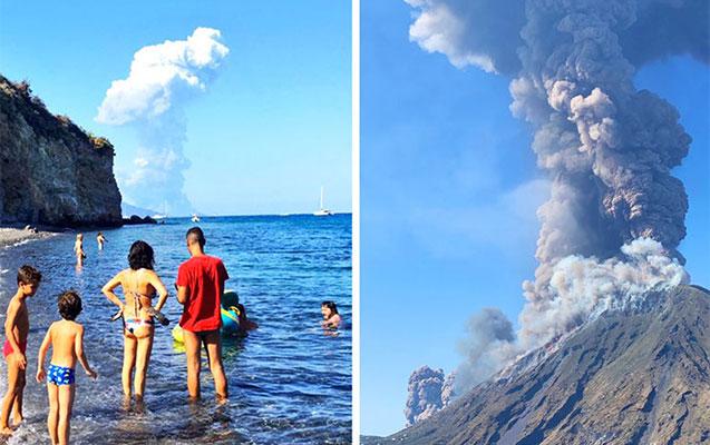 İtaliyada qəfil püskürən vulkan turistlərin kabusu oldu - Ölən var+Video