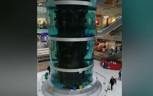Avropanın ən böyük akvariumu çatladı - Suyun qarşısını almaq olmur + Video