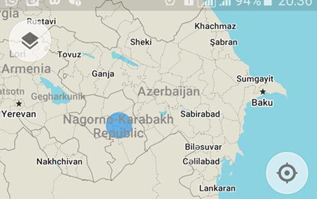 """""""Maps.me""""dən Azərbaycana qarşı hörmətsizlik"""