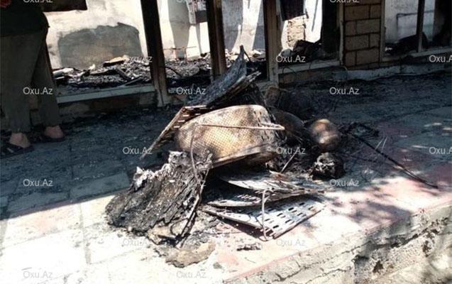 Bərdədə mağazalar yandı