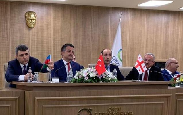 Tərsinə qoyulan Azərbaycan bayrağını nazir düzəltdi (Video)