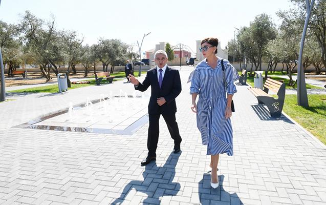 Mehriban Əliyeva Kürdəxanıda parkda
