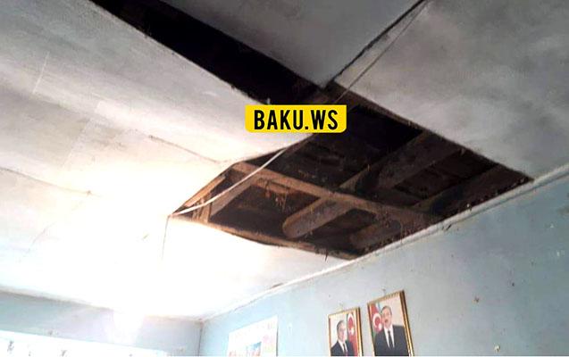 Goranboyda məktəbin tavanı uçdu
