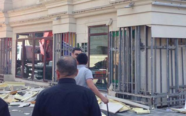 Yasamalda binanın fasadı uçdu