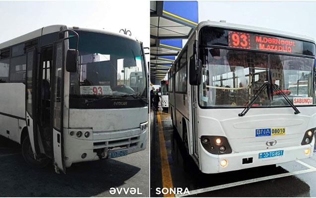 71 və 93 nömrəli avtobuslar dəyişdi