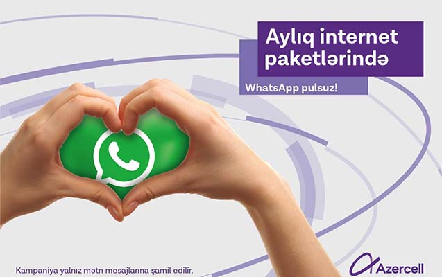 """""""Azercell"""" ilə limitsiz WhatsApp yazışmaları"""