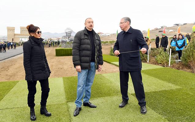 Prezidentlə xanımı Şamaxıda ağac əkdi
