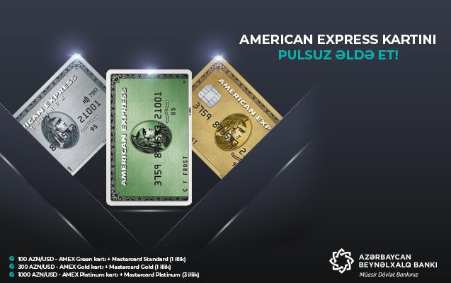 """Azərbaycan Beynəlxalq Bankı """"American-Express"""" kartları hədiyyə edir"""