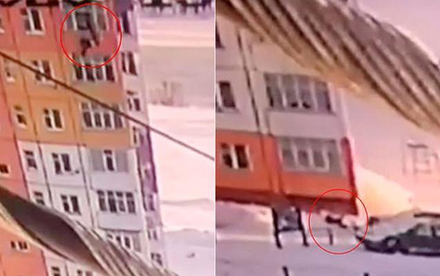 9-cu mərtəbədən yıxıldı, ayağa qalxıb gəzdi - Video